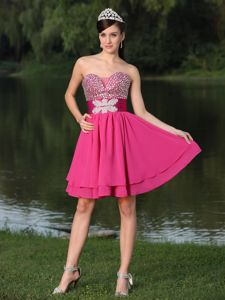Unique Lace-up Hot Pink Beaded Sweetheart Mini-length Junior Prom Dress