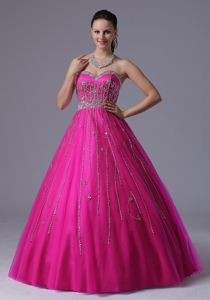 Special Fuchsia Beaded Sweetheart Floor-length Prom Dresses in Boise Idaho