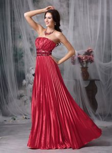 Red Strapless Pleated Floor-length Semi-formal Prom Dress with Beaded Waist