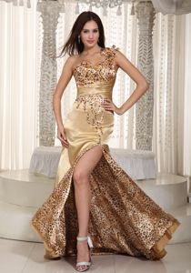 Sexy Leopard Champagne Flower Single Shoulder High Slit Prom Gown Dress