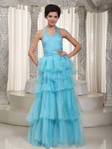 Lace-up Halter Aqua Blue Long Beaded Dress for Formal Prom with Layers