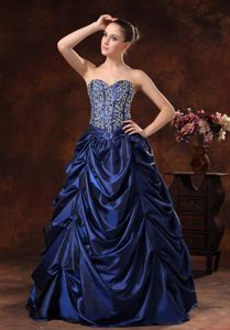 Modest Navy Blue Sweetheart Full-length Dress for Formal Prom with Pick-ups