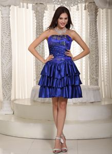 Elegant Strapless Royal Blue Mini-length Semi-formal Prom Dress with Embroidery