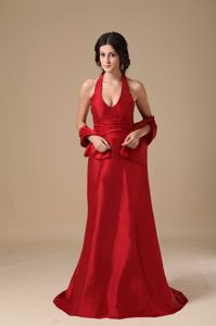 Hot Sale Wine Red Halter Floor-length Semi-formal Prom Dresses with Bowknot