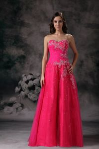 Wholesale Lace-up Hot Pink Sweetheart Beaded Floor-length Formal Prom Dress