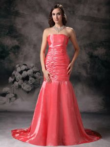 Strapless Mermaid Watermelon Ruched Chapel Train Prom Dresses in Greenville