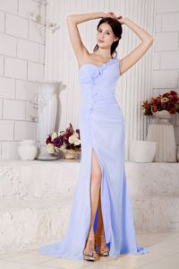 Lilac One Shoulder High Slit Senior Prom Dress with Flowers in Maryland USA