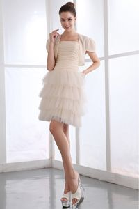 Champagne Strapless Ruched Short Junior Prom Dresses with Ruffle-layers