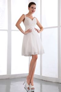 New Spaghetti Straps White Mini-length Semi-formal Prom Dress with Appliques