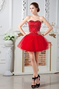 Red Beaded Sweetheart Mini-length Junior Prom Dresses in Dalton City USA