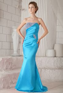 New Mermaid Strapless Aqua Blue Beaded Brush Train Formal Prom Dress