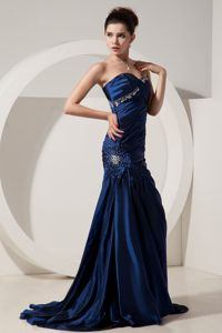 Navy Blue Sweetheart Mermaid Brush Beaded Formal Prom Dress in Maryland