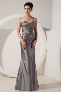 New Sweetheart Grey Beaded Floor-length Formal Prom Dresses with Embroidery