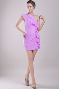 Unique Lavender One Shoulder Ruched Mini-length Prom Outfits in Al sip Illinois