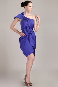 Special Blue One Shoulder Mini-length Semi-formal Prom Dress with Backout