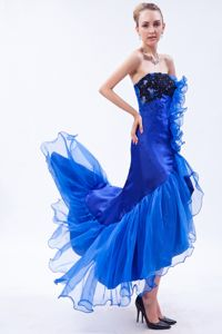 Royal Blue Strapless High-low Dress for Formal Prom with Ruffles and Appliques