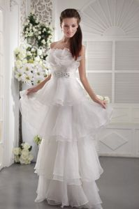 Exquisite White Strapless Beaded Long Semi-formal Prom Dress with Layers