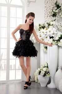 Sexy Black Sweetheart Beaded Short Senior Prom Dress with Lace in Foster USA
