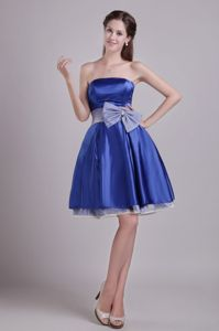 Exquisite Blue Strapless Mini-length Dress for Prom with Bowknot in Bristol RI