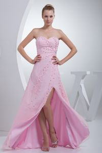 New Sweetheart Pink High Slit Beaded Long Formal Prom Dresses in Avella