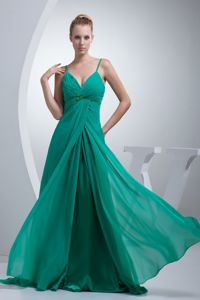 Elegant Turquoise Beaded Floor-length Prom Attire with Ruche and Spaghetti Straps