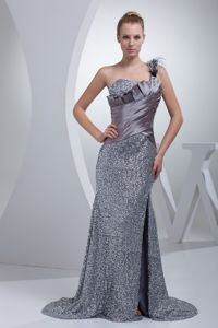 Sexy Grey Sequin One Shoulder High Slit Ruched Long Prom Dress with Feathers
