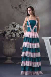 Hot Sale Teal and Pink Long Prom Dresses with Spaghetti Straps and Ruffle-layers