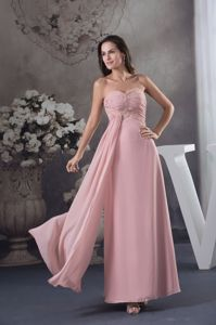 Sweetheart Baby Pink Ruched Long Prom Dresses with Beading in Cameron MT