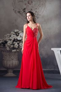 Red Beaded Floor-length Dresses for Prom with Spaghetti Straps in Clinton MT
