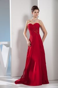 Sweetheart Appliqued Wine Red Long Prom Gown Dress Recommended