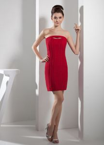 Simple Fitted Red Mini-length Strapless Prom Outfits in Succasunna NJ