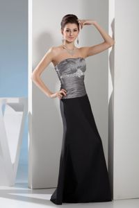 Plus Size Black and Gray Formal Dress for Prom with Beading and Ruche