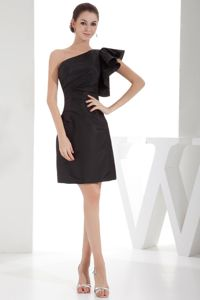 Classical One Shoulder Mini-length Black Prom Attire about 100 on Sale