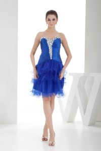 Cheap Royal Blue Short Dress for Prom with Rhinestones and Ruffled Hem