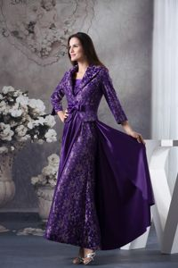 Loose Style Strapless Ankle-length Purple Prom Dress for Women Patterns