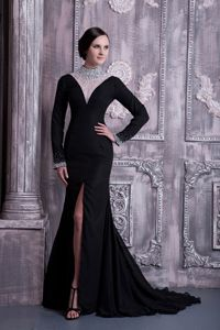 Long Sleeves Slitted Black Formal Prom Dress with Sheer Beaded High-Neck