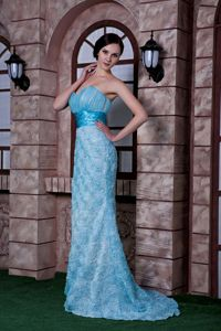 Floral Embossed Fabric Aqua Blue Formal Prom Gown Dress Fast Shipping