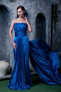 Watteau Train Beaded Royal Blue Formal Prom Dress with Flowers in Fashion
