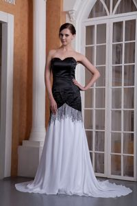 Sweetheart Brush Train Chiffon Black and White Dress for Prom in Style