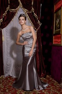 Lace-up Strapless Beaded Gray Formal Prom Gown Dresses under 150
