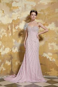 One Shoulder Beaded Light Pink Formal Prom Gown Dress for Wholesale