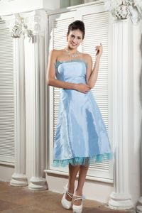 Rochelle Park NJ Satin Baby Blue Tea-length Prom Dresses in Simple Style