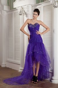 Brand New Cheap High-low Beaded Purple Prom Attire in Teaneck NJ