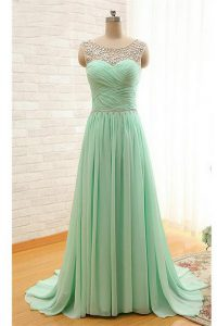 Ideal Scoop With Train Apple Green Prom Dress Chiffon Brush Train Sleeveless Beading and Ruching