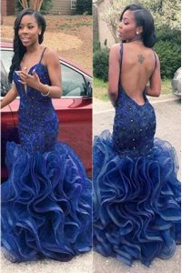Free and Easy Mermaid Spaghetti Straps Sleeveless Backless Prom Party Dress Navy Blue Chiffon