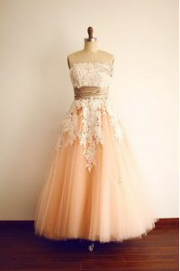 Dramatic Strapless Sleeveless Prom Gown Floor Length Lace and Appliques and Belt Peach Organza
