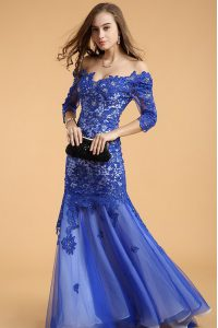 Edgy Mermaid Off the Shoulder Lace Royal Blue Zipper Dress for Prom Beading Sleeveless Floor Length