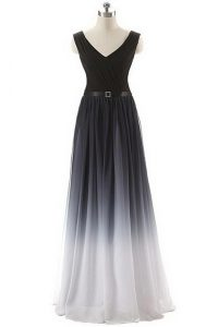 Black Chiffon Lace Up Prom Dress Sleeveless Floor Length Belt