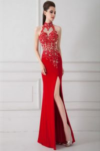 High-neck Sleeveless Silk Like Satin Homecoming Dress Beading and Appliques Zipper