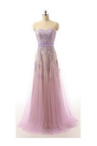 Lilac Organza Zipper Sweetheart Sleeveless Prom Dress Brush Train Lace and Appliques and Belt